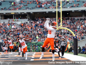 Cleveland Browns tight end Darren Fells catches a touchdown against the Cincinnati Bengals