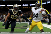 Former Pittsburgh Steelers wide receiver Antonio Brown attempts to catch a pass against the New Orleans Saints