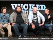 Wicked Tuna captain Dave Marciano joins fellow captains Tyler McLaughlin, T.J. Ott, and Paul Herbert onstage during the 'National Geographic Channel - Wicked Tuna' panel discussion