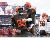 Former Cleveland Browns tight end Darren Fells celebrates a touchdown with Baker Mayfield against the Cincinnati Bengals