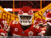 Kansas City Chiefs defensive end Justin Houston runs onto the field before the AFC Championship Game against the New England Patriots