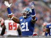 Former New York Giants safety Landon Collins reacts after a play against the Tampa Bay Buccaneers