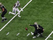 New Orleans Saints kicker Wil Lutz attempting a field goal against the Los Angeles Rams in the 2019 NFC Championship game