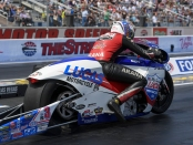 Pro Stock Motorcycle rider Hector Arana Jr. racing on Friday at the Denso Spark Plugs NHRA Four-Wide Nationals