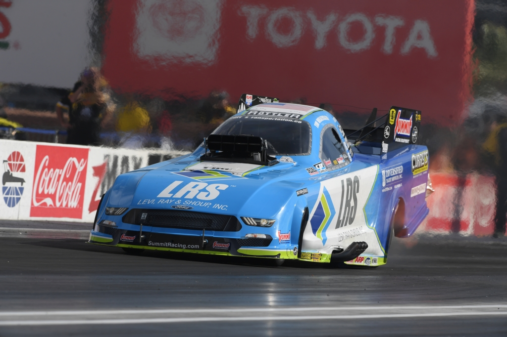 Funny Car pilot Tim Wilkerson racing on Friday at the Denso Spark Plugs NHRA Four-Wide Nationals