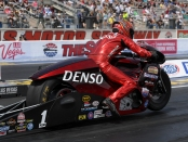 Pro Stock Motorcycle rider Matt Smith racing on Saturday at the Denso Spark Plugs NHRA Four-Wide Nationals
