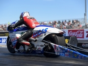 Pro Stock Motorcycle rider Hector Arana Jr. racing on Sunday at the Denso Spark Plugs NHRA Four-Wide Nationals