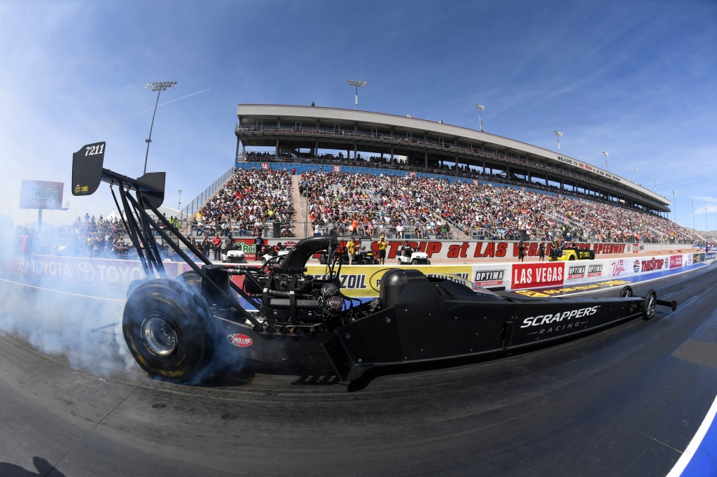 Top Fuel Dragster pilot Mike Salinas racing on Sunday at the Denso Spark Plugs NHRA Four-Wide Nationals