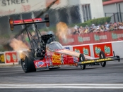Top Fuel Dragster pilot Brittany Force racing on Friday at the Mopar Express Lane NHRA SpringNationals