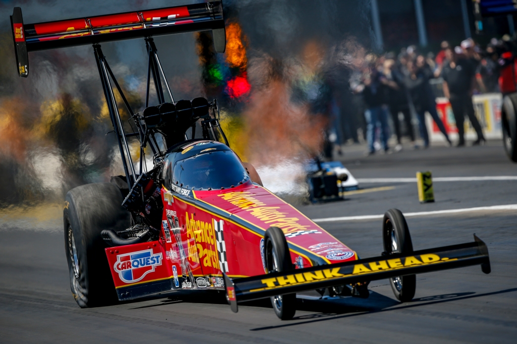 Top Fuel Dragster pilot Brittany Force racing on Sunday at the 32nd annual Mopar Express Lane NHRA SpringNationals