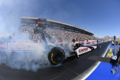 Top Fuel Dragster pilot Steve Torrence racing on Sunday at the DENSO Spark Plugs NHRA Four-Wide Nationals