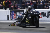 Pro Stock Motorcycle rider Karen Stoffer racing on Saturday at the NGK Spark Plugs NHRA Four-Wide Nationals