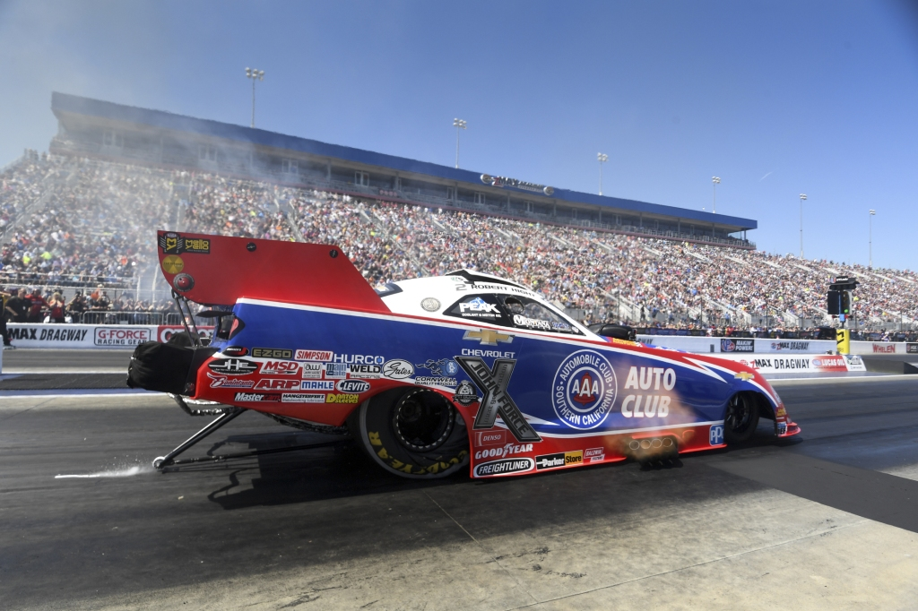 Funny Car pilot Robert Hight racing on Saturday at the NGK Spark Plugs NHRA Four-Wide Nationals