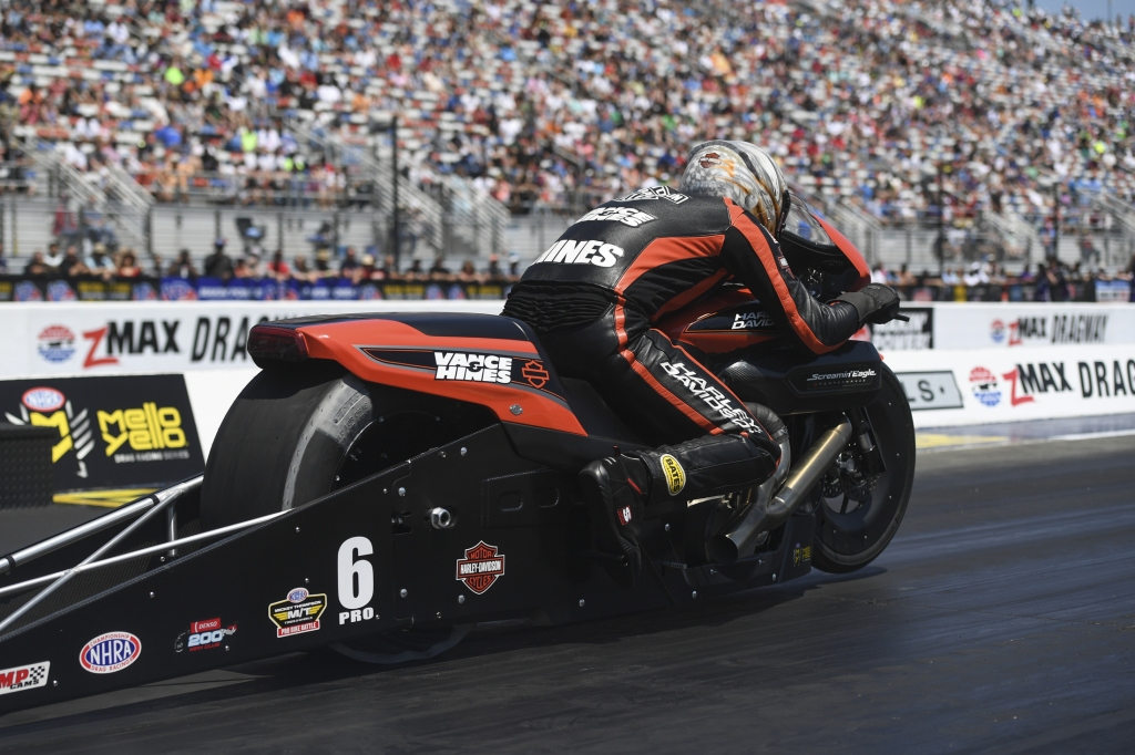 Pro Stock Motorcycle rider Andrew Hines racing on Sunday at the NGK Spark Plugs NHRA Four-Wide Nationals
