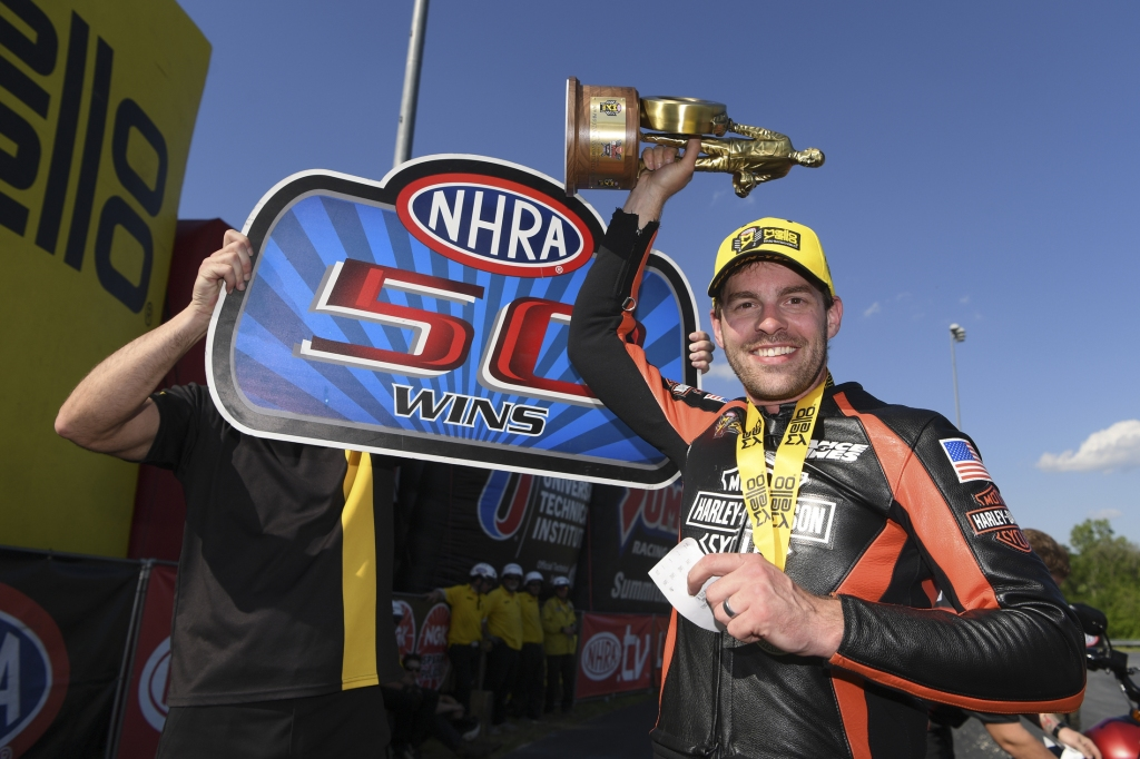 Pro Stock Motorcycle rider Andrew Hines after winning the NGK Spark Plugs NHRA Four-Wide Nationals