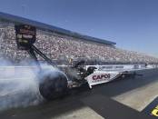 Top Fuel Dragster pilot Steve Torrence racing on Sunday at the NGK Spark Plugs NHRA Four-Wide Nationals