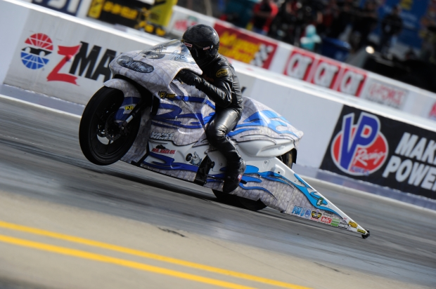 Pro Stock Motorcycle rider Jerry Savoie racing on Sunday at the NGK Spark Plugs NHRA Four-Wide Nationals