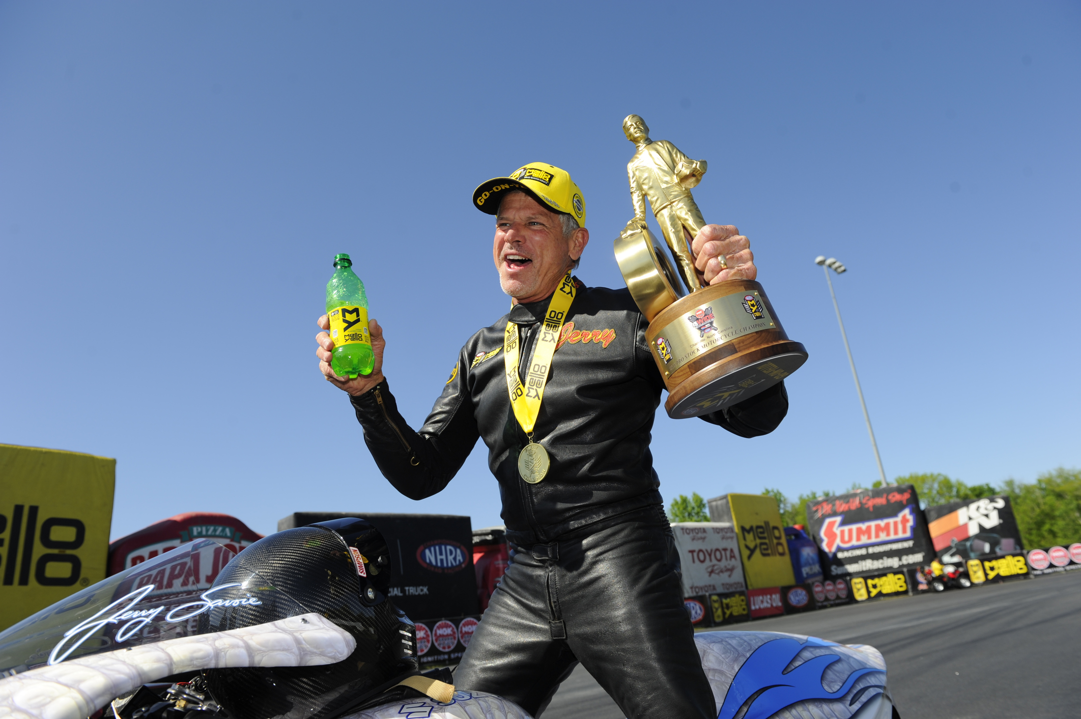 Pro Stock Motorcycle rider Jerry Savoie after winning the NGK Spark Plugs NHRA Four-Wide Nationals