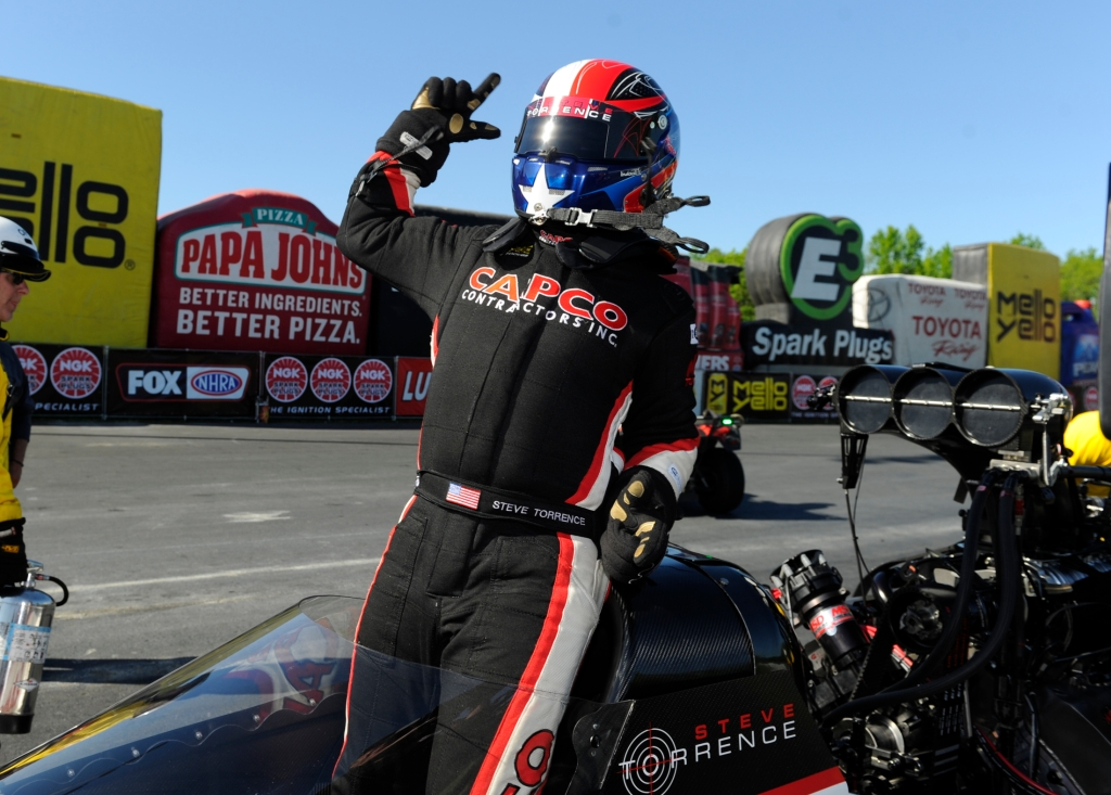 Top Fuel Dragster pilot Steve Torrence after winning the NGK Spark Plugs NHRA Four-Wide Nationals