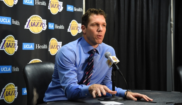 Former Los Angeles Lakers head coach Luke Walton talking to the media