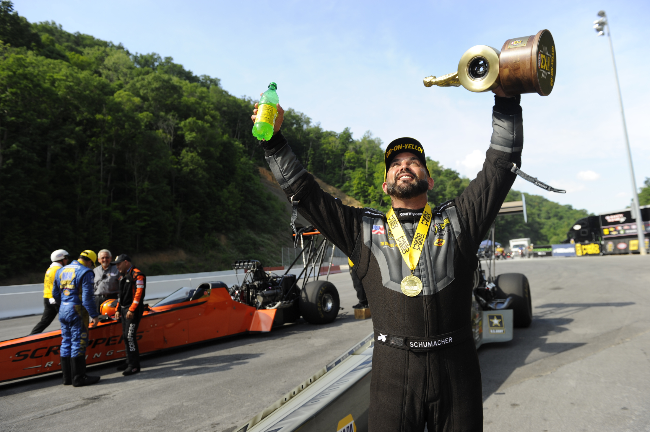 U.S. Army Top Fuel Dragster pilot Tony Schumacher after winning the Fitzgerald USA NHRA Thunder Valley Nationals