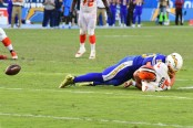 Los Angeles Chargers defensive end Joey Bosa sacks DeShone Kizer against the Cleveland Browns causing a fumble