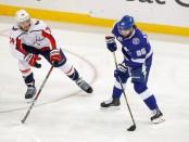 Tampa Bay Lightning right winger Nikita Kucherov skates with the puck against the Washington Capitals