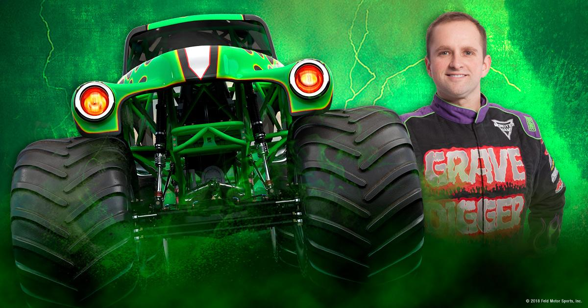 Grave Digger driver Adam Anderson in a stock photo