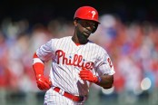 Philadelphia Phillies outfielder Andrew McCutchen rounds the bases after hitting a home run against the Atlanta Braves