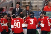 Former Florida Panthers head coach Bob Boughner directs his team during a timeout against the Toronto Maple Leafs
