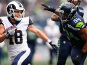 Seattle Seahawks linebacker Bobby Wagner attempts to tackle Cooper Kupp against the Los Angeles Rams