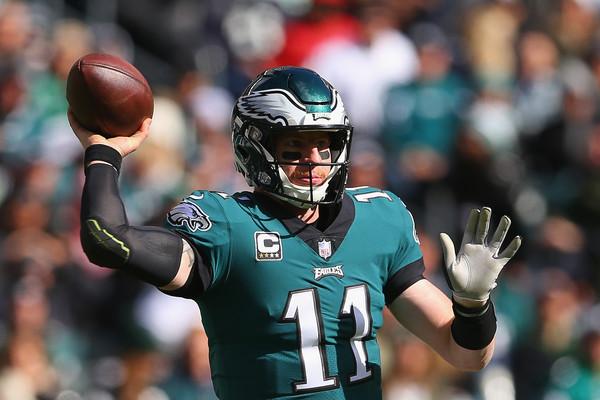 Philadelphia Eagles quarterback Carson Wentz looks to pass the football against the Carolina Panthers