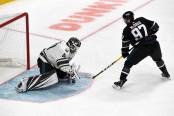 Edmonton Oilers star center Connor McDavid goes to the net against Minnesota Wild goaltender Devan Dubnyk