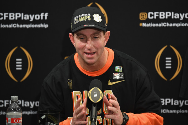 Clemson Tigers head coach Dabo Swinney speaks to the media after winning the College Football Playoff National Championship presented by AT&T