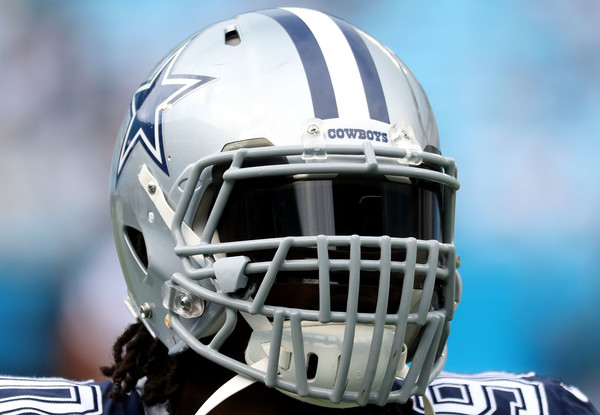 Dallas Cowboys defensive end Demarcus Lawrence's helmet during warm ups before the game against the Carolina Panthers