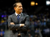 Former Nevada Wolf Pack head coach Eric Musselman reacts to a call against the Loyola-Chicago Ramblers
