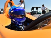 Driver Fernando Alonso in the McLaren IndyCar before the Texas Motor Speedway test session