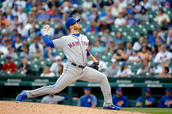 New York Mets pitcher Jacob Rhame pitching against the Chicago Cubs