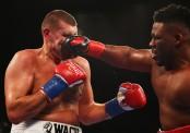 Heavyweight boxer Jarrell Miller punches Mariusz Wach