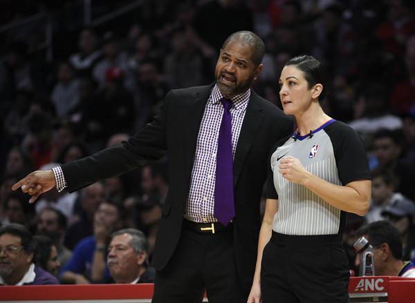 Former Memphis Grizzlies head coach J.B. Bickerstaff complains to referee Lauren Holtkamp