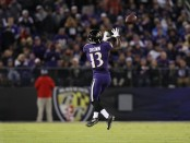 Baltimore Ravens wide receiver John Brown catches a pass against the New Orleans Saints