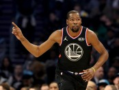 Golden State Warriors forward Kevin Durant reacts in the second quarter for Team LeBron in the 2019 NBA All-Star Game