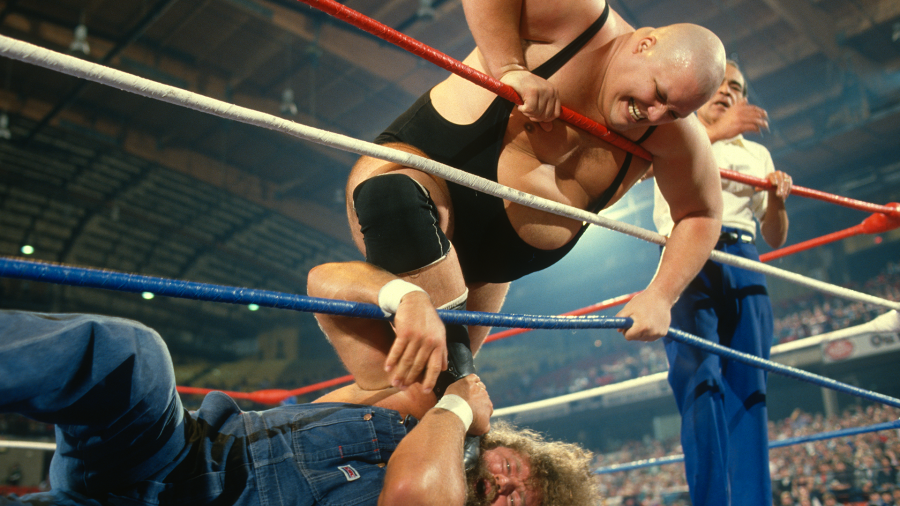 Wrestler King Kong Bundy competing against Hillbilly Jim in a match