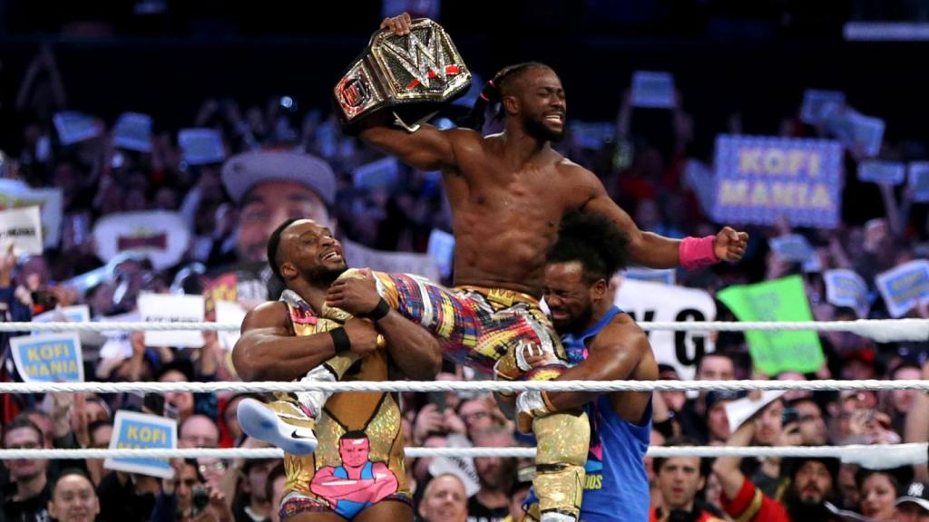 Wrestler Kofi Kingston celebrates after defeating Daniel Bryan