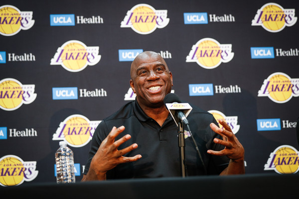 """Earvin """"Magic"""" Johnson discusses the 2018-19 Los Angeles Lakers season at UCLA Health Training Center"""