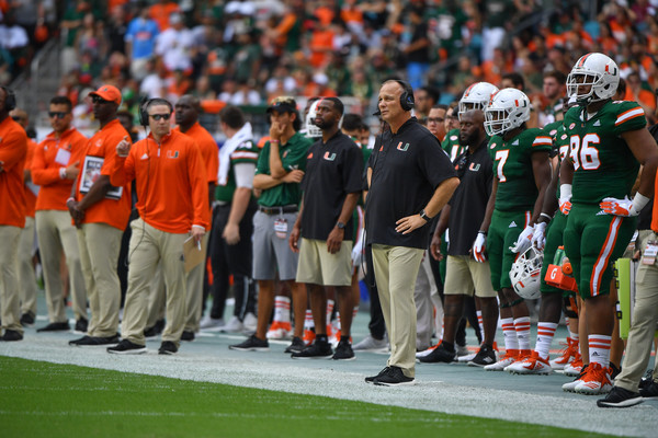 Former Miami (Florida) Hurricanes head coach Mark Richt on the sidelines against the Florida State Seminoles