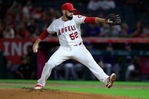 Former Los Angeles Angels pitcher Matt Shoemaker pitches against the Texas Rangers