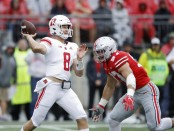 Former Ohio State Buckeyes defensive end Nick Bosa pressures Arthur Sitkowski against the Rutgers Scarlet Knights