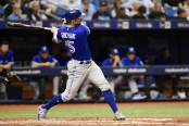 Toronto Blue Jays outfielder Randal Grichuk hits an RBI double against the Tampa Bay Rays