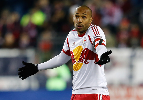 Former New York Red Bulls soccer player Thierry Henry reacts to a call in the second half against the New England Revolution